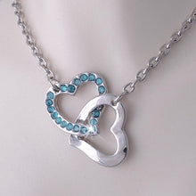 Load image into Gallery viewer, Gold Plated Double Heart Pendant with Turquoise Swarovski Crystals