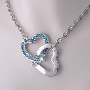 Gold Plated Double Heart Pendant with Turquoise Swarovski Crystals