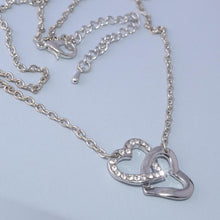Load image into Gallery viewer, Gold Plated Double Heart Pendant with Swarovski Crystals