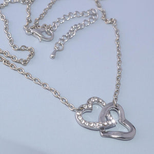 Gold Plated Double Heart Pendant with Swarovski Crystals