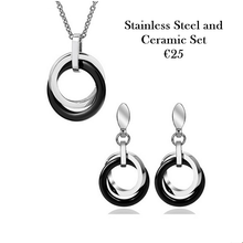 Load image into Gallery viewer, Stainless Steel with Ceramic Stylish Set Necklace Pendant Earrings