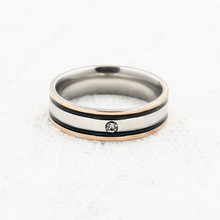 Load image into Gallery viewer, Stylish Stainless Steel Solid Double Black Border Ring