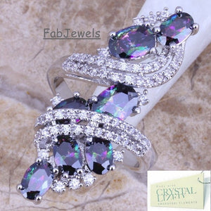 Sterling Silver 925 Ring with Swarovski Crystals and Mystic Topaz