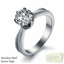 Load image into Gallery viewer, Highest Quality Titanium Stainless Steel 316L Solitaire Ring with Swarovski Crystals