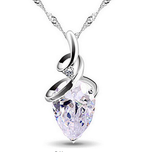 Load image into Gallery viewer, White Gold Plated Swarovski Crystal Drop Pendant with Necklace