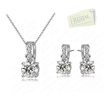 Load image into Gallery viewer, White Gold Plated Set with Swarovski Crystals Necklace Pendant Earrings