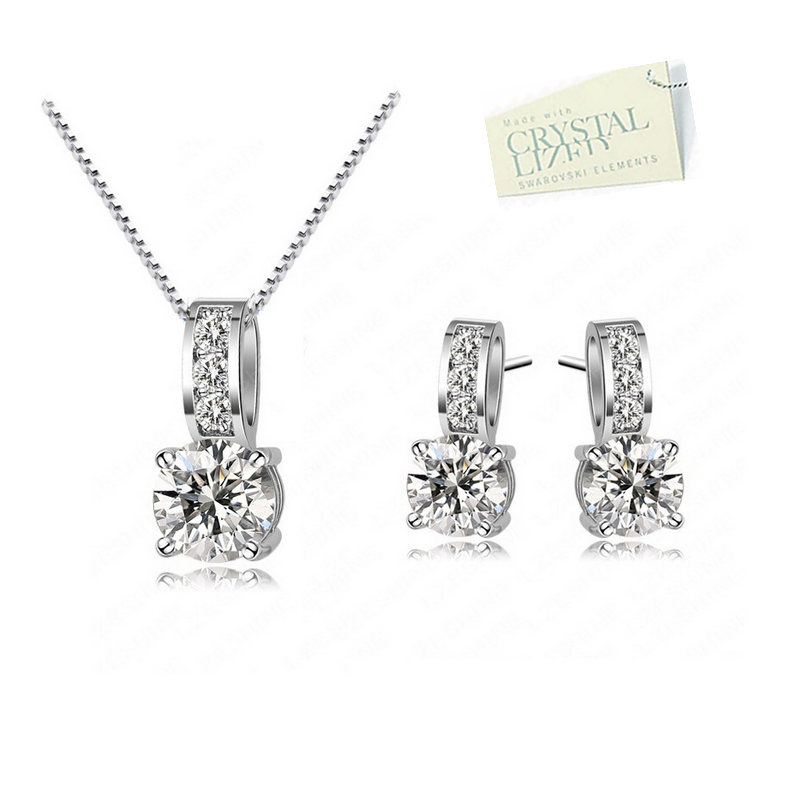 White Gold Plated Set with Swarovski Crystals Necklace Pendant Earrings