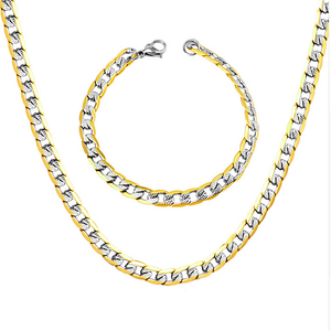 Solid Stainless Steel Silver/ Gold Plated 316L Curb Chain Set Necklace Bracelet