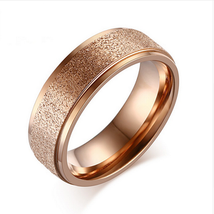 Stunning Stainless Steel Rose Gold Plated Frosted Ring