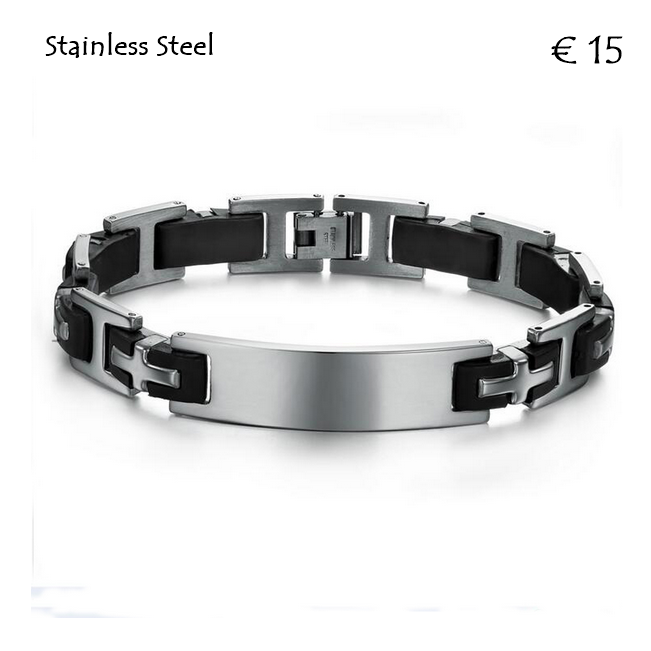 High Quality Stainless Steel and Black Silicone ID Bracelet.