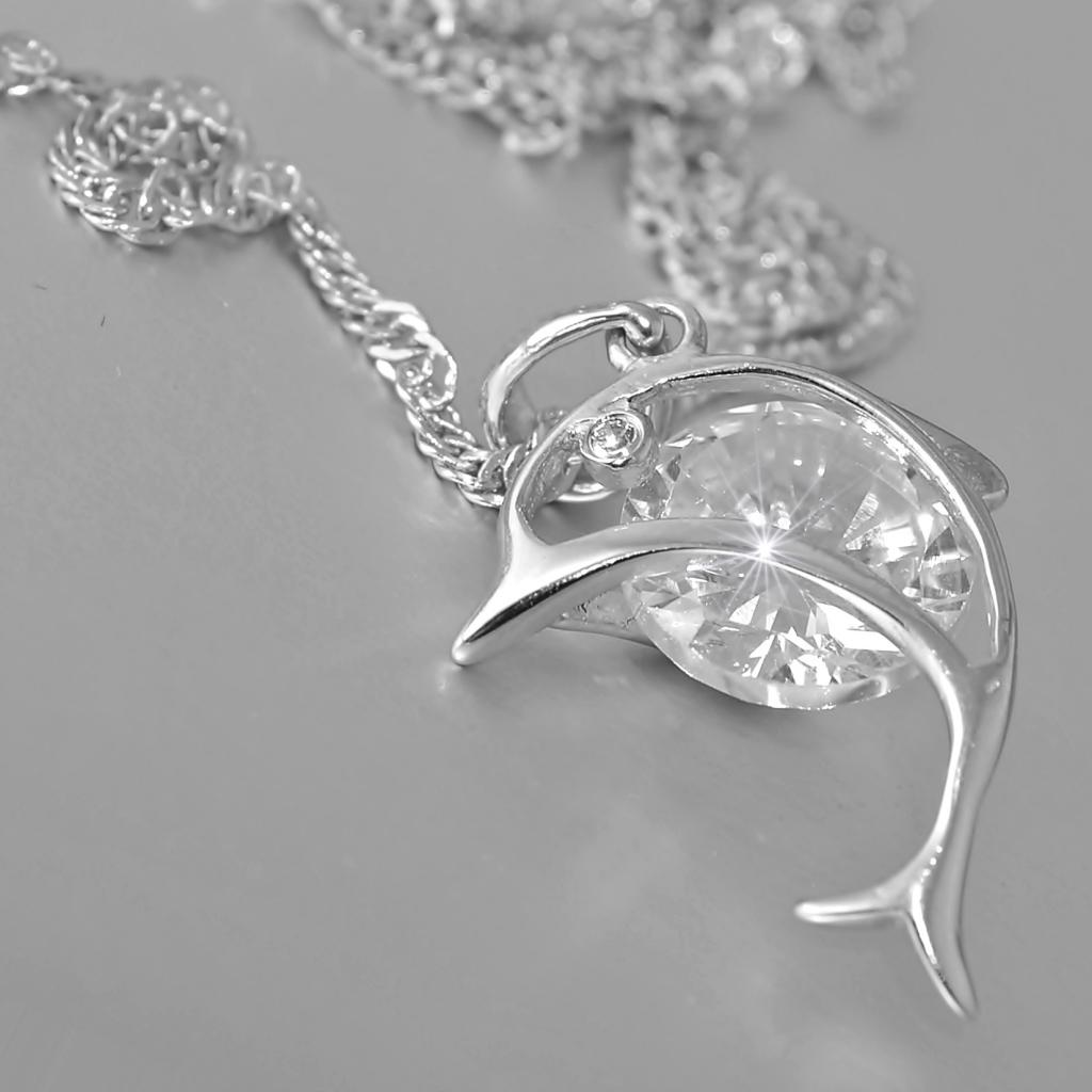 Sterling Silver 925 Dolphin Necklace with Swarovski Crystal