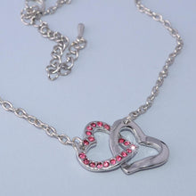Load image into Gallery viewer, Gold Plated Double Heart Pendant with Pink Swarovski Crystals