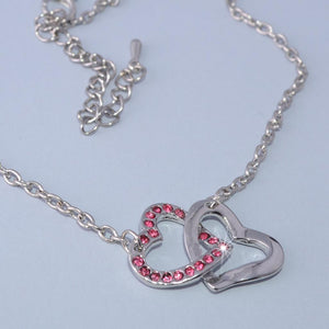 Gold Plated Double Heart Pendant with Pink Swarovski Crystals