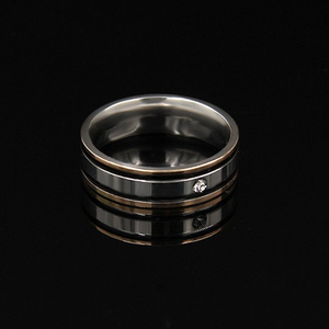 Stylish Stainless Steel Solid Double Black Border Ring