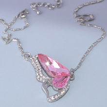 Load image into Gallery viewer, Pink Swarovski Crystal Buttefly Pendant