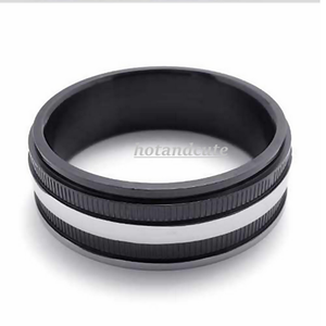 Stainless Steel 316L Fashionable Mens Ring Silver and Black