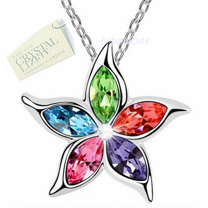 18ct White Gold Plated Chain with Multi Coloured Swarovski Crystals Pendant