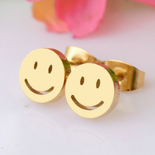 Load image into Gallery viewer, Stainless Steel Yellow Gold Plated SMILEY Stud Earrings Hypoallergenic
