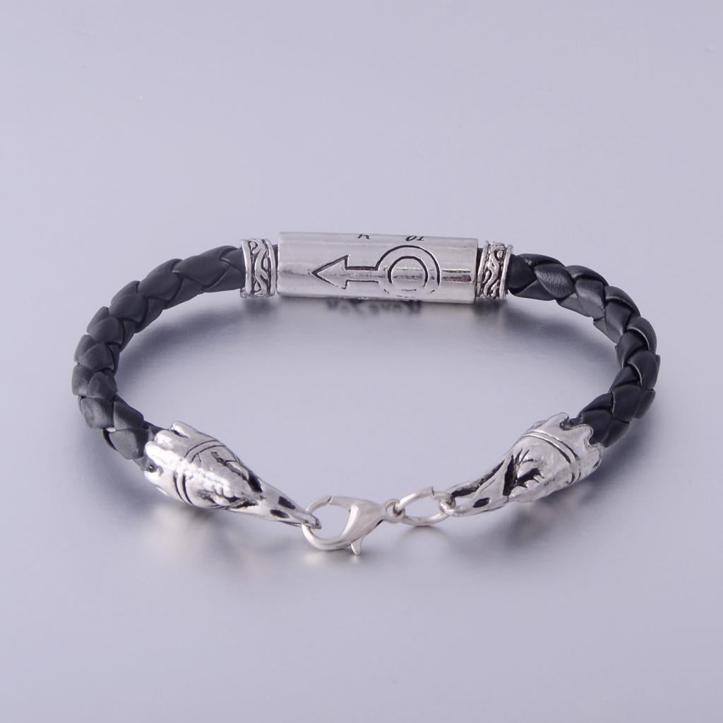 Trendy Leather and Stainless Steel Men's Bracelet