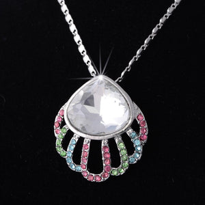 Platinum Plated Shell Necklace with Swarovski Crystals