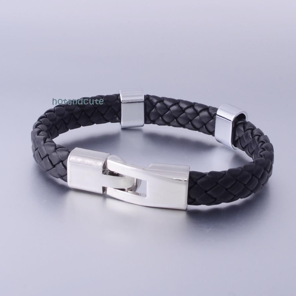 Black Leather with Stainless Steel Fashionable Bracelet
