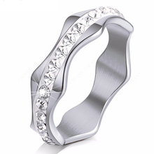 Load image into Gallery viewer, Stainless Steel 316L Wave Shape Ring with Swarovski Crystals