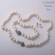 Load image into Gallery viewer, Fabulous Natural Cultured Pearls Set Earrings Necklace and Bracelet