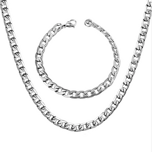 Solid Stainless Steel Silver Tone 316L Curb Chain Set Necklace Bracelet