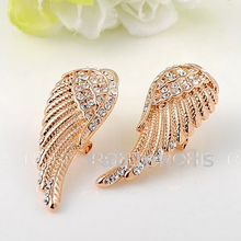 Load image into Gallery viewer, Lovely Angel Wing Long Earrings White Rose Gold Plated with Swarovski Crystals