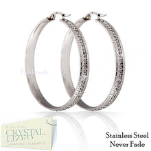 Load image into Gallery viewer, Stainless Steel 316L Hypoallergenic Loop Earrings with Swarovski Crystals