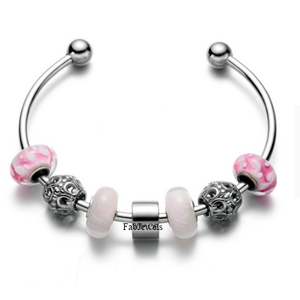 316L Stainless Steel Lucky Charm Adjustable Bangle with Pink Murano Glass Charms