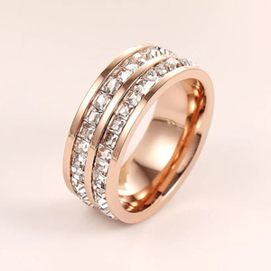 Titanium Stainless Steel 316L Ring Rose Gold Plated and White Gold Plated with Swarovski Crystals