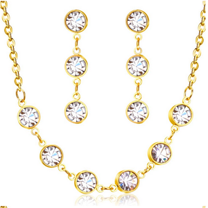 Fabulous Swarovski Crystals Stainless Steel Yellow Gold Plated Set Necklace and Matching Earrings