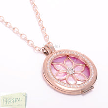 Load image into Gallery viewer, Stainless Steel 316L Rose Gold Plated Interchangeable My Coin Holder Necklace Flower Shell Disc Set