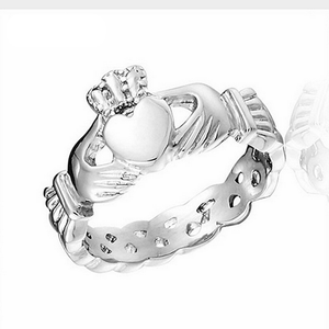 Solid Stainless Steel Silver Heart Crown Ring