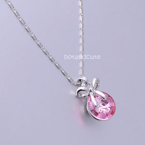 18ct Gold Plated Chain with Pink Swarovski Crystal Pendant