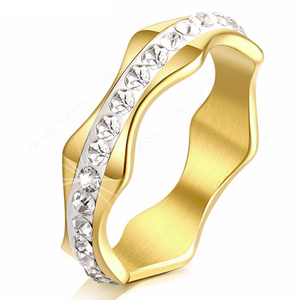 Stainless Steel 316L Wave Shape Ring with Swarovski Crystals