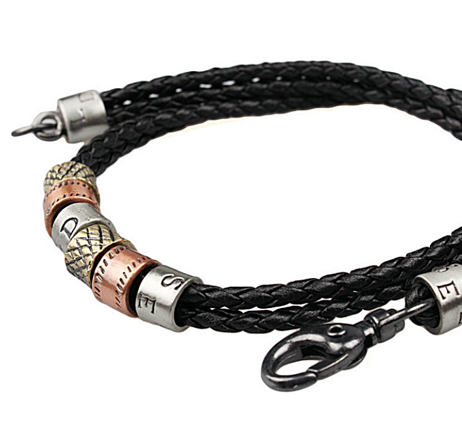 Black Leather and Stainless Steel Cool Necklace