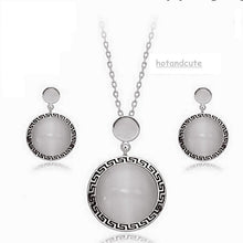 Load image into Gallery viewer, White Gold Plated Set with Opal Gemstones Earrings Pendant and Chain