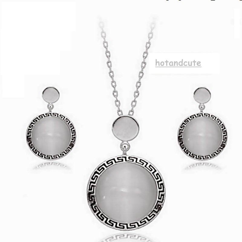 White Gold Plated Set with Opal Gemstones Earrings Pendant and Chain
