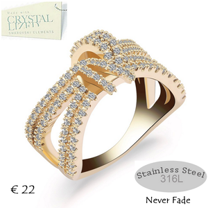 High Quality Stylish Stainless Steel 316L Ring Yellow Gold Plated and White Gold Plated with Swarovski Crystals