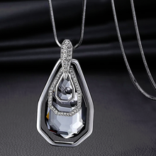 Load image into Gallery viewer, Long Sweater Necklace Pendant with Crystals
