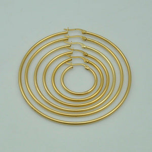 Stainless Steel Yellow Gold Plated Loop Earrings Hypoallergenic Different Sizes