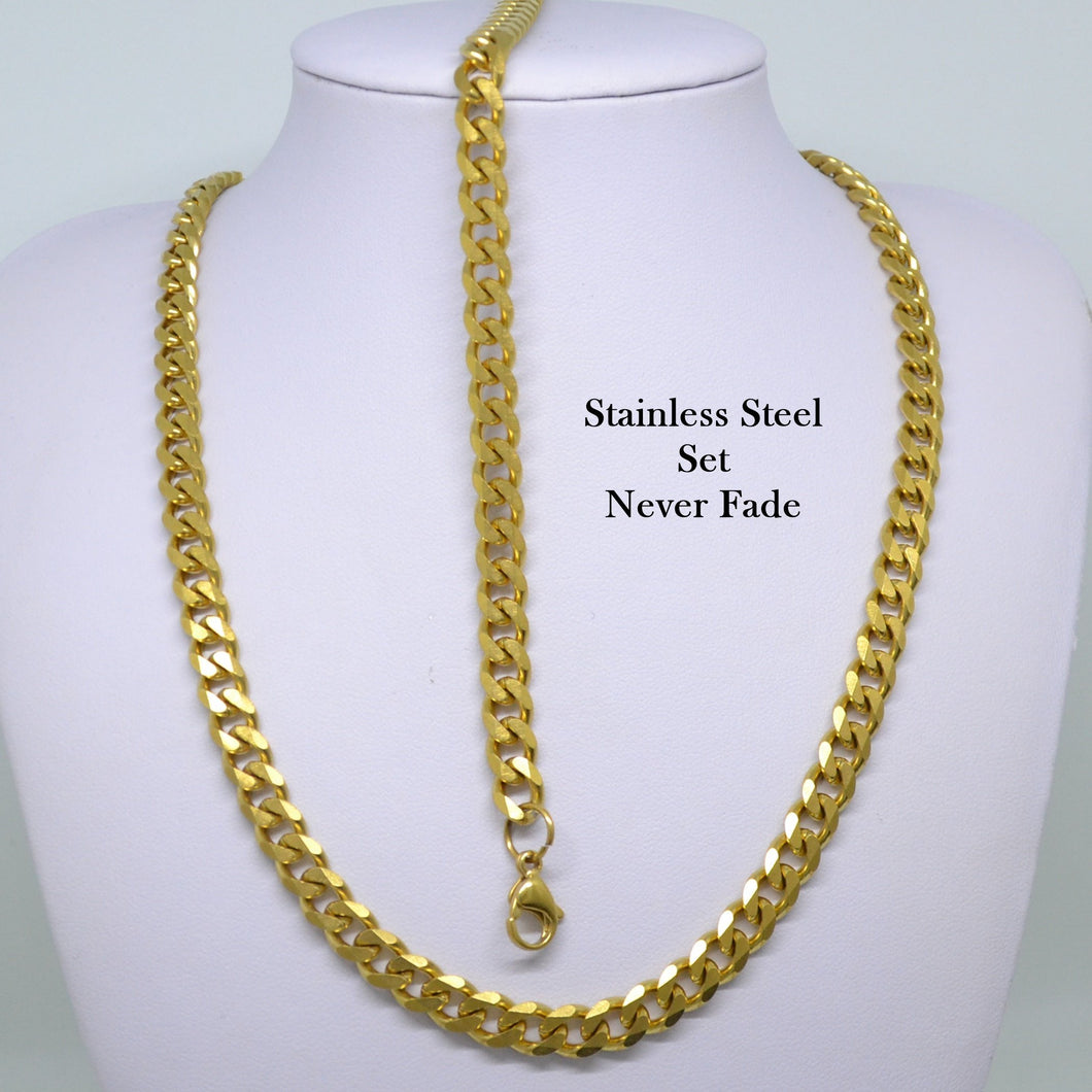 Solid Stainless Steel 316L Gold Plated Curb Chain Set Necklace Bracelet