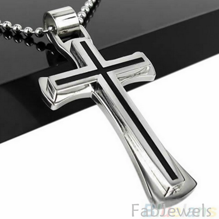 Stainless Steel 316L Cross Pendant and Necklace