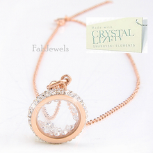 Load image into Gallery viewer, Stainless Steel 316L Rose Gold Plated Necklace with Moving Swarovski Crystals
