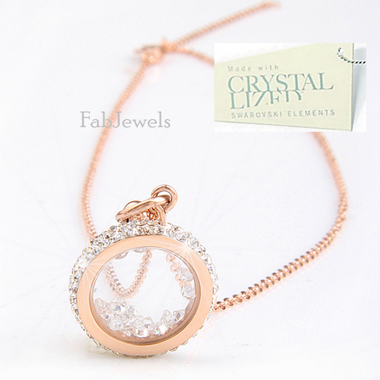 Stainless Steel 316L Rose Gold Plated Necklace with Moving Swarovski Crystals