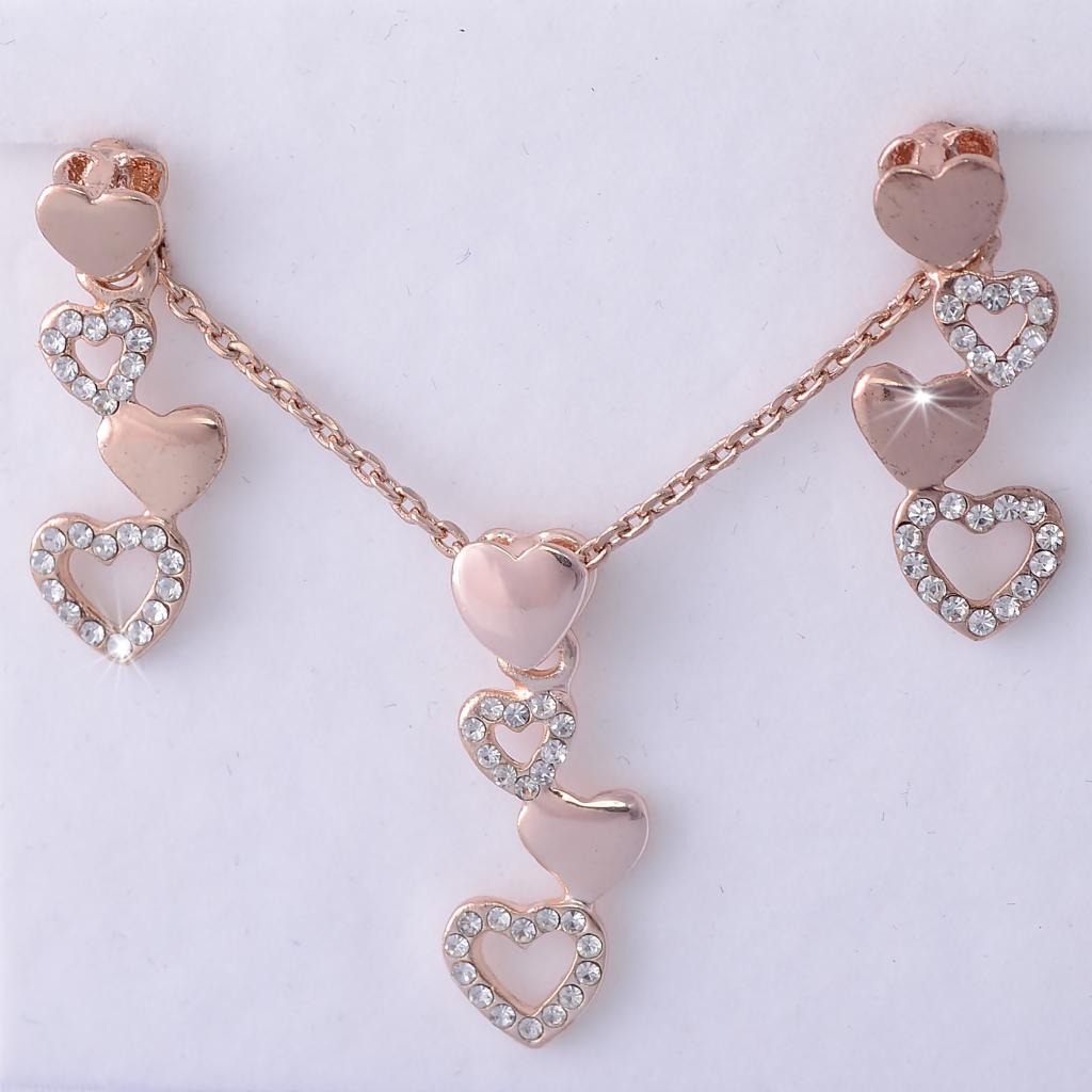 Rose Gold Plated Heart Set with Swarovski Crystals Neklace Pendant Earrings