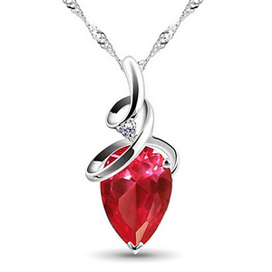 White Gold Plated Swarovski Crystal Drop Pendant with Necklace