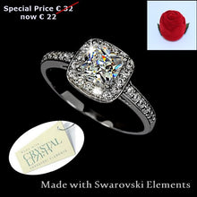 Load image into Gallery viewer, High Quality 18ct WhiteGold Plated Ring with Brilliant Swarovski Crystals